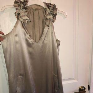100% silk grey/silver dress